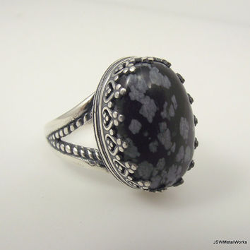 Large Victorian Sterling Silver Snowflake Obsidian Ring, Ornate Silver Ring, Filigree Ring, Size 7