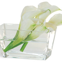 Calla Lily In Glass White Flower Arrangement - Traditional - Artificial Flowers - by Winward Designs