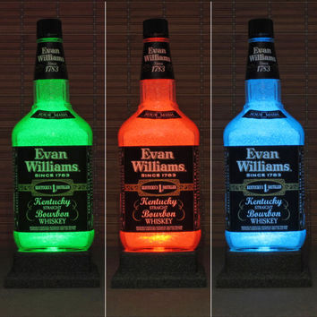 Evan Williams Bourbon Whiskey BIG 1.75 Liter LED Color Changing Bottle Lamp Bar Light Man Cave