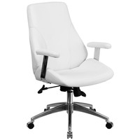 Flash Furniture Mid-Back White Leather Executive Swivel Office Chair [BT-90068M-WH-GG]