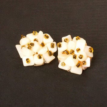 Vintage White and Amber Cluster Clip Earrings marked Japan