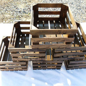 Six Reclaimed Wooden Storage Crates With Dark Walnut Finish