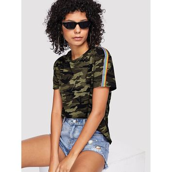 Contrast Striped Trim Camo Print Tee