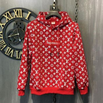 VONERE1 LV x Supreme Fashion Embroidered Tea Red Hooded Sweater