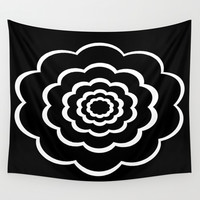 Black and white flower Wall Tapestry by Laureenr