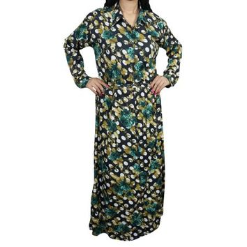 Mogul Womens Maxi Dress Button Down Floral Print Long Sleeves Holiday Resort Caftan Dresses L - Walmart.com