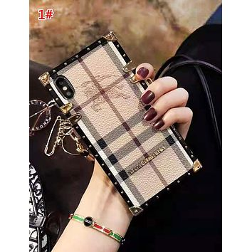 Burberry Fashion New Horse Print Plaid Wrist Band Women Men Phone Case Protective Cover 1#