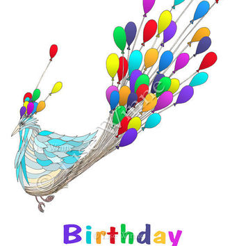 Birthday Bird with birthday balloons in a rainbow of by LiseWinne