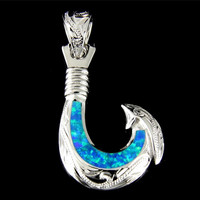 INLAY OPAL STERLING SILVER 925 HAWAIIAN SCROLL FISH HOOK PENDANT 17.50MM MEDIUM