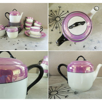 Three Crown China Germany Lusterware Snack Set Lusterware Tea Set Purple and Black Art Deco Tea Set Vintage Tea Set Tea Service Luncheon Set