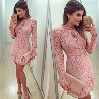 Womens Bandage Bodycon Lace Evening Dress Party Cocktail Mini Dress Long Sleeve = 1931707972