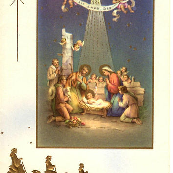 Vintage Religious Christmas Card - Mary Jesus Manger - Wise Men - Angel - Unused Greeting Card - Reproducta - Made in USA - Gilded Gilt Gold