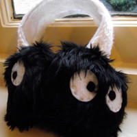 Soot Sprite Earmuffs - Ear Muffs - Spirited Away - Totoro - Studio Ghibli - Black - Fur
