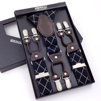 Men's suspenders casual Fashion braces High quality leather suspenders Adjustable 6 clip Belt Strap 11 COLOR Father'day