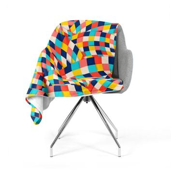 "Danny Ivan ""Curved Squares"" Multicolor  Fleece Throw Blanket"