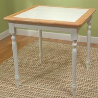 Classic Square Wood Dining Table with White Tile Top