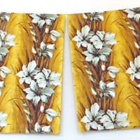 Barkcloth Curtains, Barkcloth Drapes, Bark Cloth, Rhinocloth, Gold Barkcloth, Floral Barkcloth Fabric