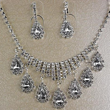 Crystal Bling Tear Drop Necklace and Earring Set For Wedding or Prom