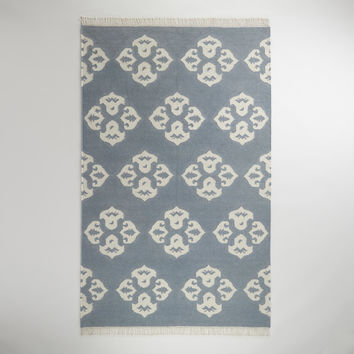 5' X 8' GRAY IVORY MEDALLION WOOL FLAT-WOVEN RUG