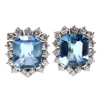 Friedrich Pair of Aquamarine Diamond Cluster Ear Clips