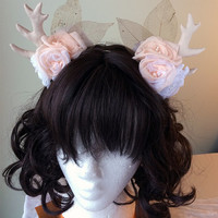 Dawn of the Fawn | Handmade Antler Headband | Mori Goth Mori Kei Gothic Lolita Fairy Kei Fantasy Cosplay Deer Flowers Pink Kawaii Cute