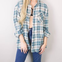 Vintage Teal Plaid Flannel Shirt
