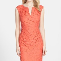 Women's Adrianna Papell Floral Lace Side Pleated Sheath Dress