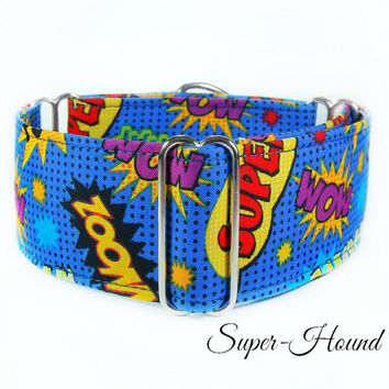 Superhero Comic Dog Collar, martingale collar, 2 inch martingale, greyhound collar, whippet collar, boxer dog collar, action collar, blue