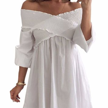 White Crossed Smocking Off Shoulder Mini Dress