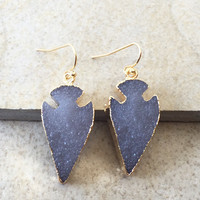 Druzy Arrowhead Earrings