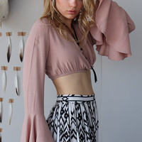 MAUVE OVER BELL SLEEVE CROP TOP