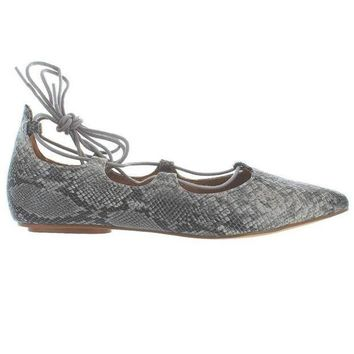 Chelsea Crew Gigi   Beige Snake Fancy Lace Up Ballet Flat