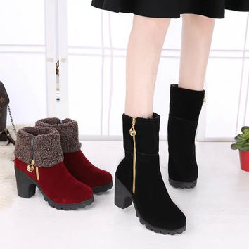 On Sale Hot Deal Waterproof High Heel Shoes Cotton Boots [9257225228]
