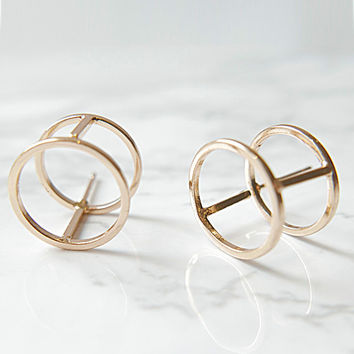 AGLAIA Geometric Double Loop Stud Earrings