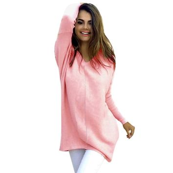 Womens Sexy Casual Long Sleeve Jumper Sweaters Coat warm winter sweater women Pullovers Gray Khaki Pink Blue