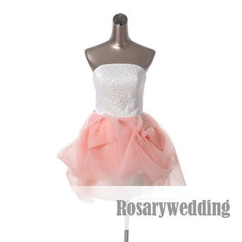Strapless cute organza mini party dress by Rosaryweddingdress
