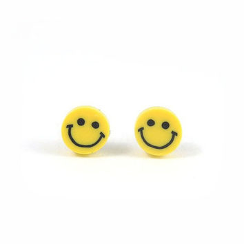 Yellow Smiley Face Earrings Smile Studs Polymer Clay Tiny Earrings Free Shipping Etsy Gift for her under 10
