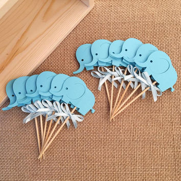 New Bow&Blue Elephant Double-Sided Cupcake Toppers Baby Shower for Boy Birthday Party Decoration Favors Cake Decorations Picks