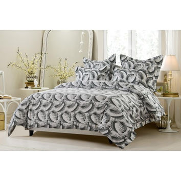 6PC Black and White Feather Design Bedding Set-Includes Comforter and Duvet Cover - Style # 1039 C -Cherry Hill Collection in King/Cal King