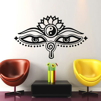 Wall Decals Yoga Fatima Hand Hamsa Indian Eyes Lotus Buddha Ganesh Decal Vinyl Sticker Decor Home Interior Bedroom Studio Design Art MN418