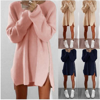 2017 Spring Knitted Dress Women Fashion Loose Casual Zipper Long Sleeve Warm Dress Pullover Sweater Tunic Mini Sexy Dress