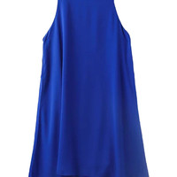 Blue Sleeveless Shift Mini Dress