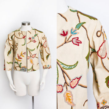 Vintage 60s Jacket - INDIAN Hand Embroidered Beige Cotton Wool 1960s - Medium