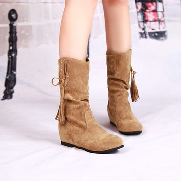 Suede Round Toe Hidden Heel Slouch Boots With Crystal And Tassel