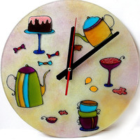 Kitchen round wall  Clock. Home decor. Tea. Coffee. Cakes. Wall Art.