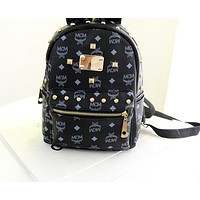 MCM Backpack Women Men Bag Shoulder School Bag Backpack B-LLBPFSH Black