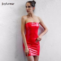 Joyfunear sexy latex pu leather dress 2017 women summer off the shoulder celebrity runway club party dresses backless vestidos