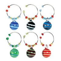 Oenophilia Wine Glass Charms, Spheres - Set of 6