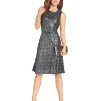 NY Collection Sleeveless Metallic A-Line Dress
