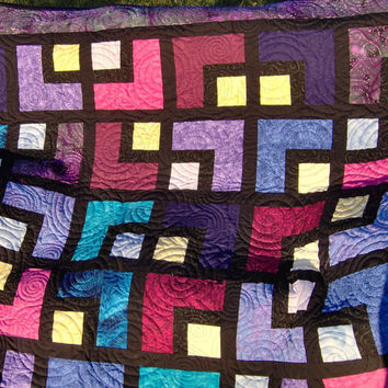 Twin Size Bed Quilt Purple Black Yellow Blue Pink by KQCreations